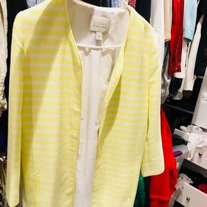 Long Yellow and White Striped Coat